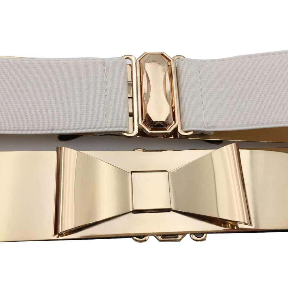 ceabc2e74 ... Seabigtoo Bow Gold Plate metal elastic belts for women ladies belts  female nude belts waist chain