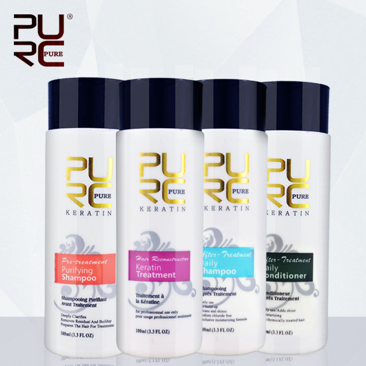 PURC الكيراتين الشعر استقامة علاج الشعر لمدة 4 قطع شامبو وبلسم إصلاح تلف مجموعة العناية بالشعر