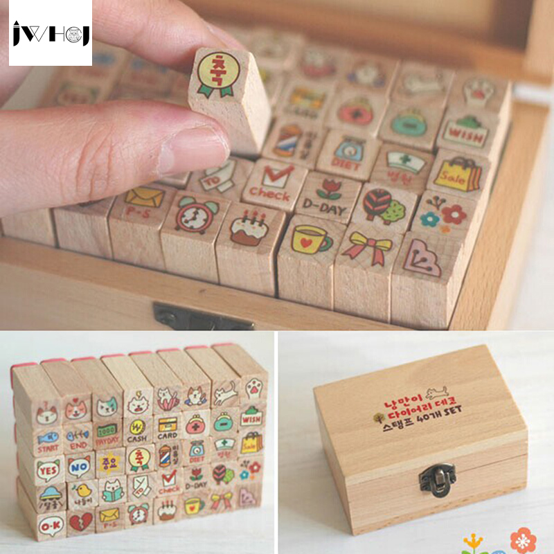 Jwhcj 40 Pcs Set Mini Cute Cat Wooden Rubber Stamp Gift
