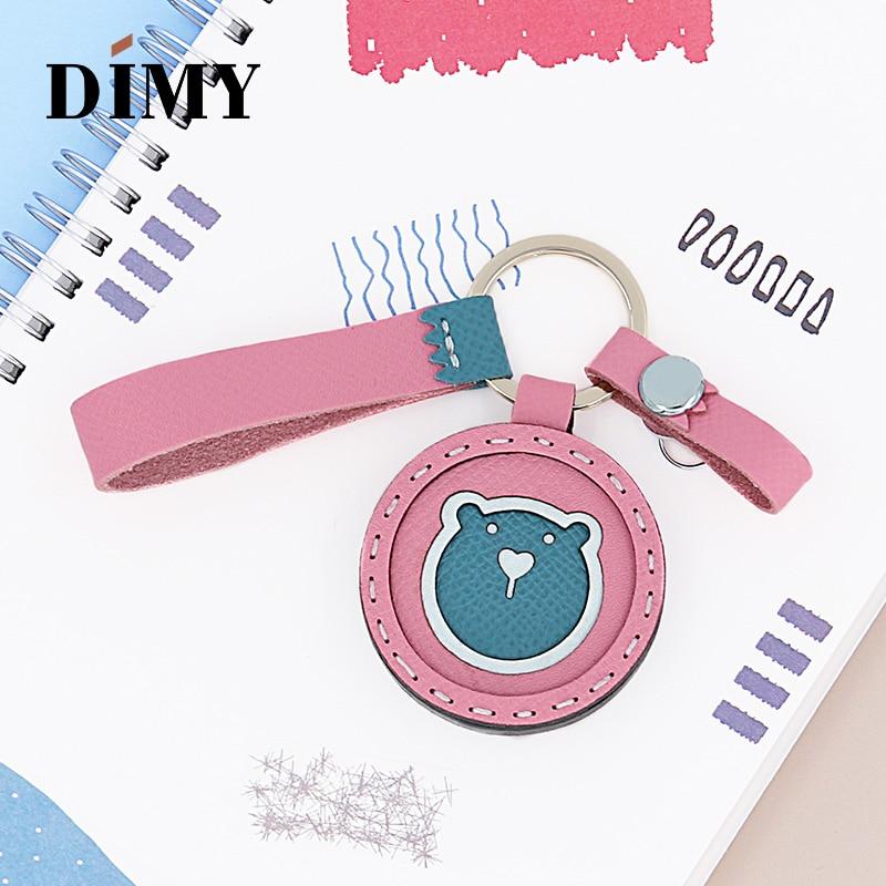 DIMY Handmade Original Custom Cowhide Cute Bear Charm Animals Pendant Women Bag Charms Leather Simple Accessories Girls Gifts