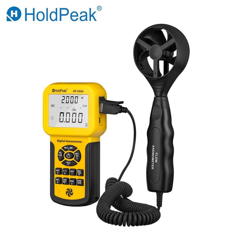 HoldPeak HP-856A Medidor de volumen de aire con velocidad de viento digital Anemómetro USB / portátil con registrador de datos y estuche portátil