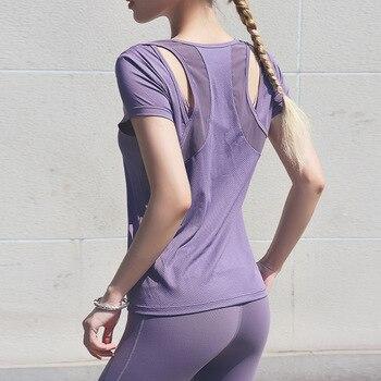Sesy Mesh Patchwork Sport T Shirt Fitness Women Yoga Shirt Gym Running Breathable Hollow Out Jerseys Sportswear 1