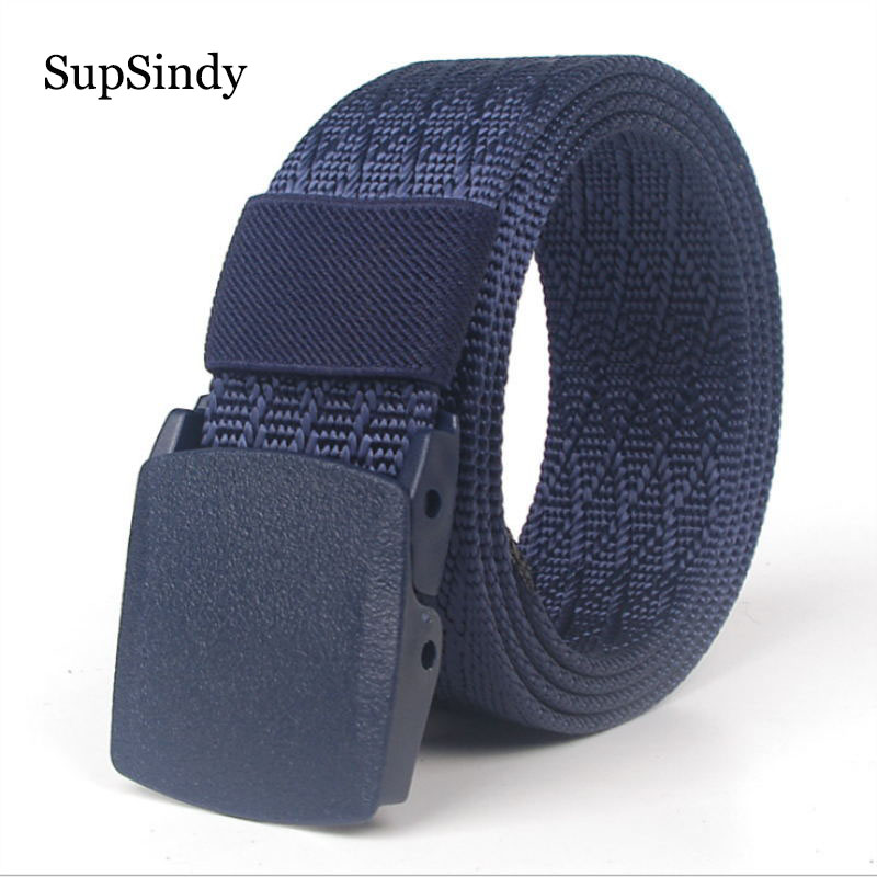 SupSindy men&women canvas nylon   belt   Fashion POM automatic buckle   belts   for women Outdoor tactical   belt   military male strap blue