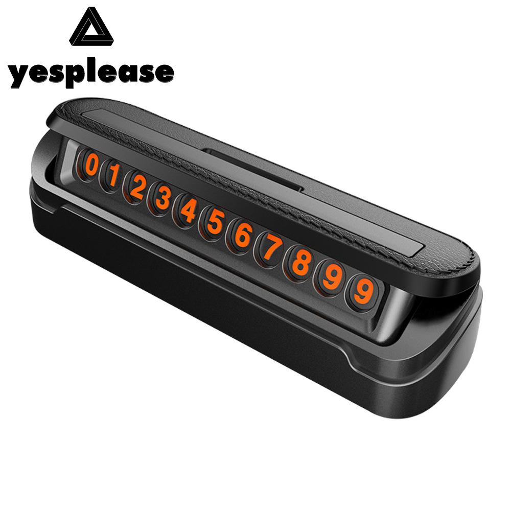 Yesplease Car Styling Temporary Parking Card Fake Leather Car Parking Number Plate Car styling Accessories Phone