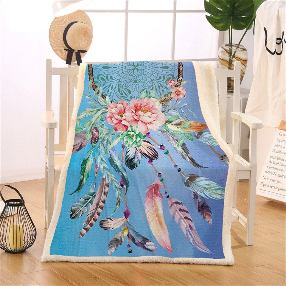 BlessLiving Dreamcatcher Decke Sherpa Flanell Fleece Reversible Decke Native American Federn Bett Couch Decke Werfen manta