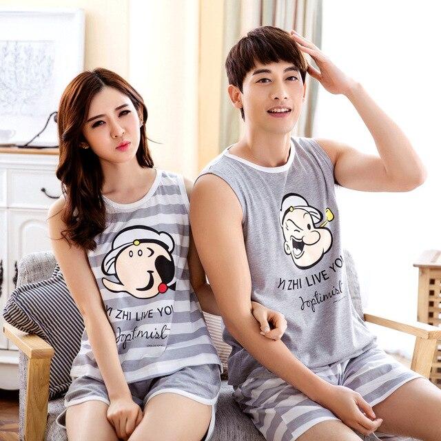 Милые любителей мультфильмов лето хлопок пара пижамы для женщины прекрасный мультфильм мужчины пижамы устанавливает домашняя