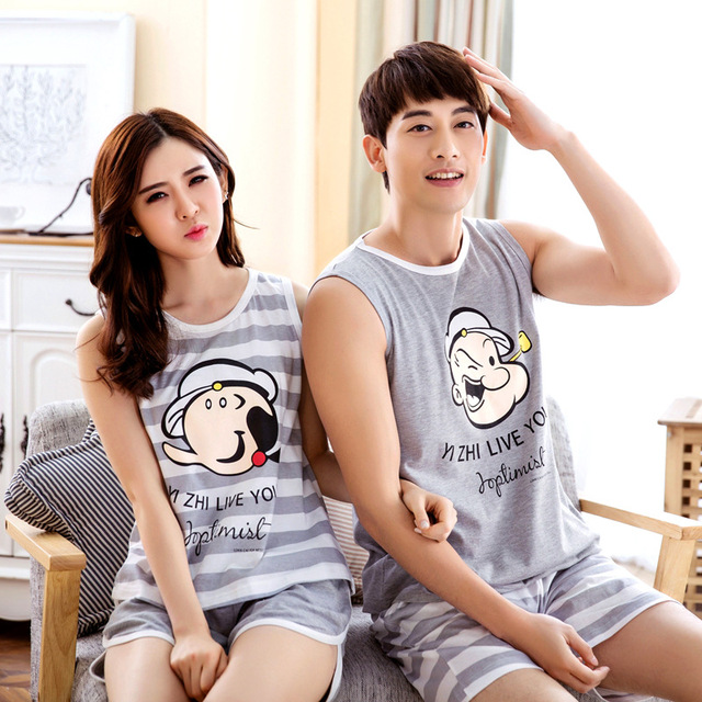 bbe15d2472 Hot new 2016 cartoon lovers summer cotton Couple pajamas for woman man  Lovely Cartoon pajamas sets Home wear pajama sets