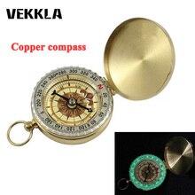 VEKKLA компас Открытый Кемпинг Туризм портативный карманный латунный золотой цвет медный Компас Навигация с ночным дисплеем