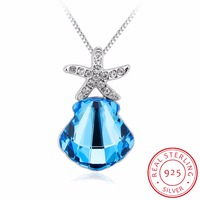 INALIS 925 Sterling Silver Necklace Fine Jewelry Cute Blue Crystal Star Starfish Pendant Necklace Hot Sale Best Gifts For Woman