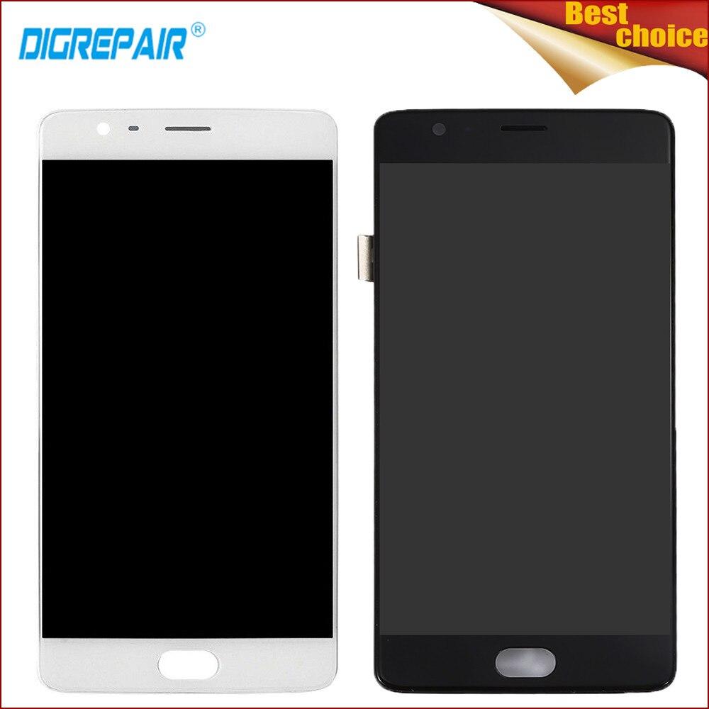 Preto/Branco Para Um Mais Três OnePlus 3 A3000 A3003 Peças Display LCD Touch Screen Digitador Assembléia Completa + quadro, frete Grátis