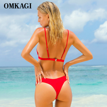 OMKAGI Brand Swimwear Women Swimsuit Sexy Push Up Micro Bikinis Set Swimming Bathing Suit Beachwear Summer Brazilian Bikini 2018 2