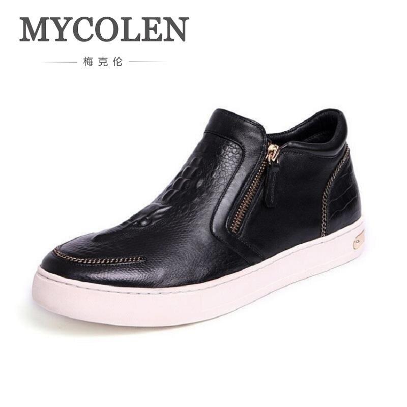 MYCOLEN Luxury Designer Leather Men Ankle Boots Men Winter Real Leather Boots Zipper Black Boots Men Shoes Damen Stiefeletten