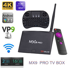 2 GB 16 GB RK3328 MX9 Pro Android 7.1 Smart TV Box Quad-Core 2.4G WiFi BT 4.0 Set-top box VP9 H.26 HDR 4 K Reproductor Multimedia HD