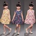 2016 Niños de La Manera Ropa de Las Muchachas Vestido Floral Impreso 2-8Y Bebé Niños Vestidos Lindos Sin Mangas Niños Colthes Vestido de Niña