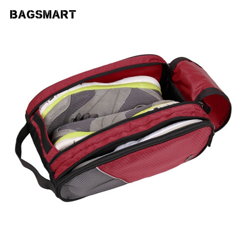 Bolsa de zapatos transpirables a prueba de agua portátil Unisex Bolsa de zapatos de viaje roja Bolsas de viaje con poco equipaje