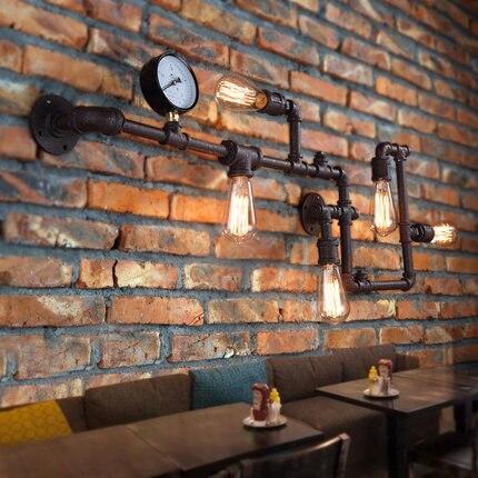 Nova Moda Wroguht Ferro Tubulação de Água Lâmpada de Parede Luzes Do Corredor Do Vintage Loft Café relógio de Parede de Ferro Lâmpadas Incandescentes Edison Luz Bulbo