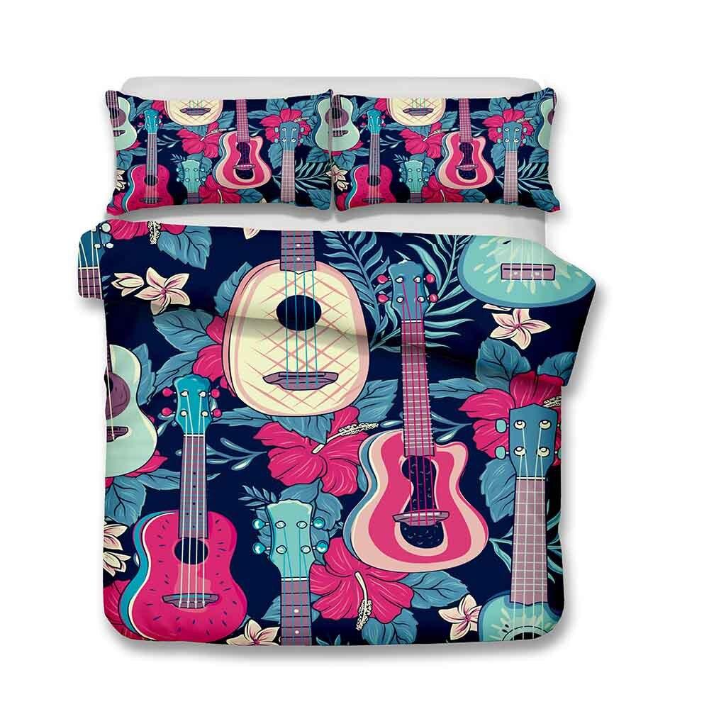WINLIFE 3D Guitar Bedding Set for Teens Boys Girls Kids Duvet Cover Set with Zipper