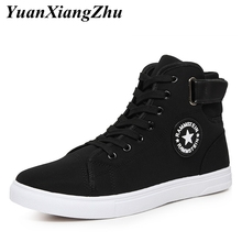 цена men casual shoes 2019 spring summer white black high top sneakers men shoes lace-up breathable canvas shoes zapatillas hombre онлайн в 2017 году
