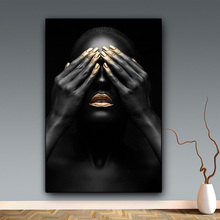 Black Hand and Gold Lip Nude Woman Oil Painting Wall Art Canvas Cuadros Nordic Poster Pictures Prints Unfarmed