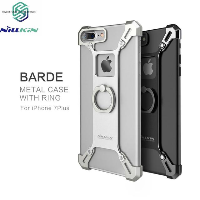 2017 nillkin caja de metal para iphone 7 plus capa práctico soporte del teléfono caso cubierta de la contraportada para iphone 7 plus 5.5 anillo titular de la forma