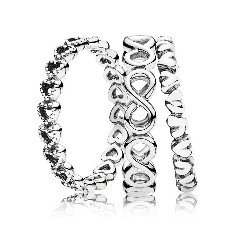 Trendy Authentic 925 Sterling Silver Eternal Love Ring Stack For Women Wedding Engagement Anniversary Gift Fine Europe Jewelry