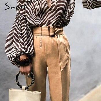 Simplee エレガントなハイウエスト女性のハーレムの女性パンツ固体サッシカーキパンツ原宿フィットネスオフィス女性のズボンファムパンツ
