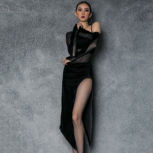 Image 2 - Vestido de baile latino de LICRA para mujer, ropa Sexy de baile de Salsa, vestidos de competición, Ropa de baile de corte alto para práctica de Samba 2020