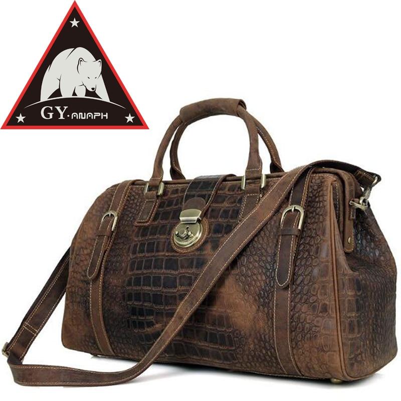 anaph viajes totalizador del cocodrilo elegante patente regular de cuero bolsa de viaje de la maleta