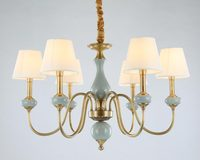 Современные реального Бронзовый Медь Люстра для Спальня обеденный Гостиная с керамикой роскошные люстры светильники BLC102