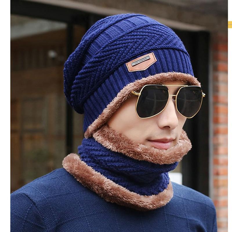 2018 Mens hat warmer winter hat knit cap scarf cap Winter Hats For men knitted hat men   Beanie   Knit   Skullies     Beanies