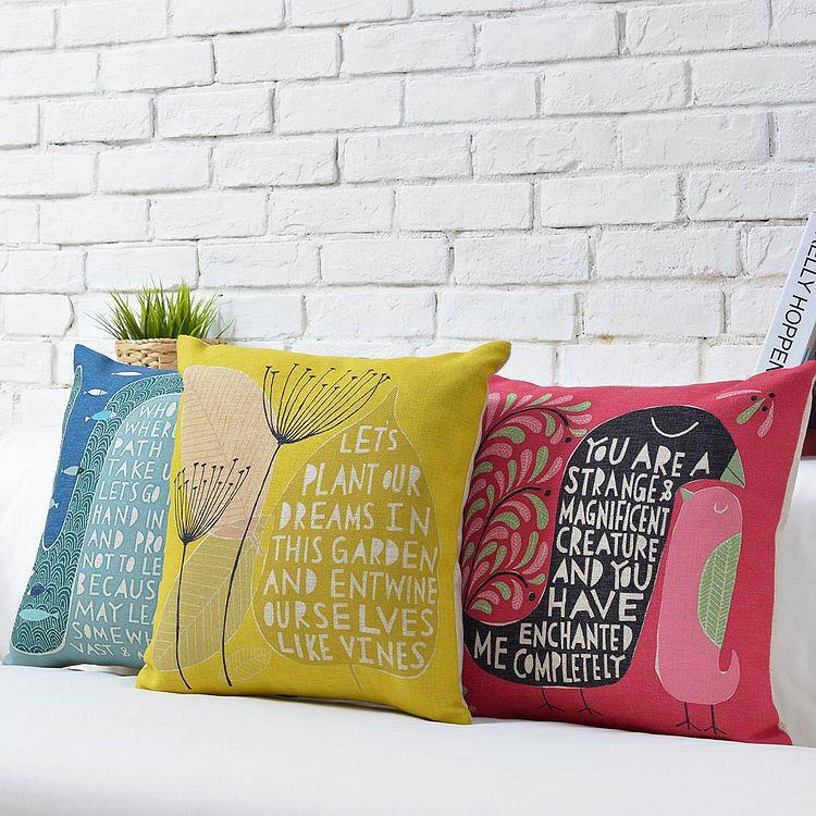 Wholesale Alphabet Pillow Home Decor Scandinavian simplicity Creative Pillow Dandelion Illustration Seat Pillow