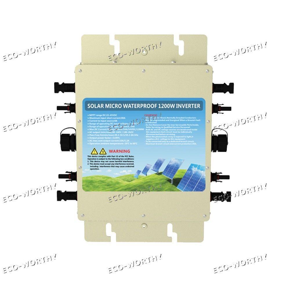 1200W Waterproof Grid Tie Inverter DC 24V to AC 110V MPPT Function MC4 Connector1200W Waterproof Grid Tie Inverter DC 24V to AC 110V MPPT Function MC4 Connector