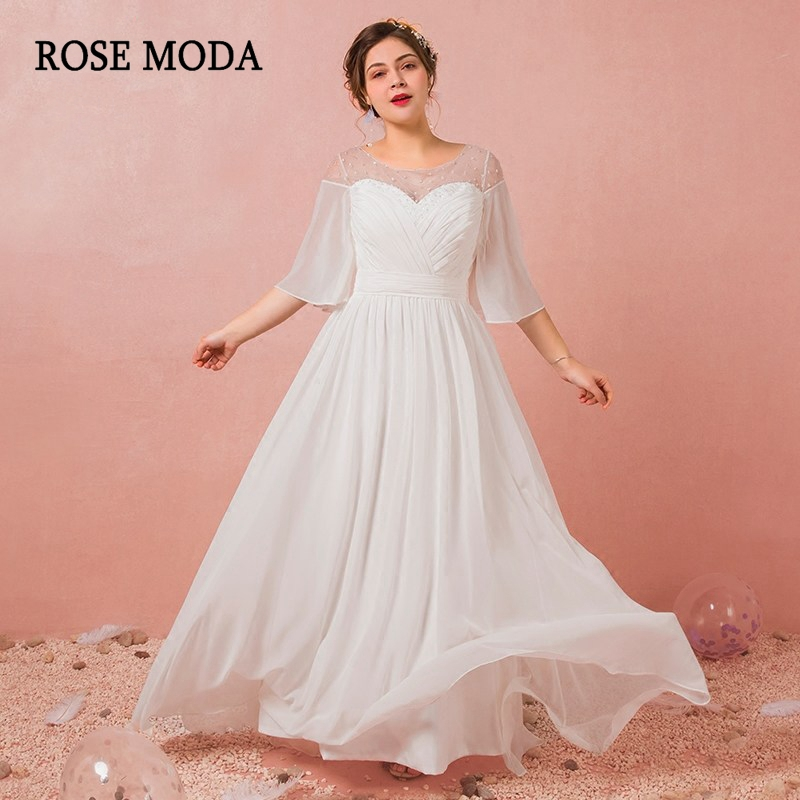 Hearty Rose Moda Boho Plus Size Wedding Dress 2019 With Sleeves Beach Plus Size Wedding Gowns Reception Dresses Real Photos Weddings & Events