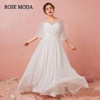 Rose Moda Boho Plus Size Wedding Dress 2019 with Sleeves Beach Plus Size Wedding Gowns Reception Dresses Real Photos