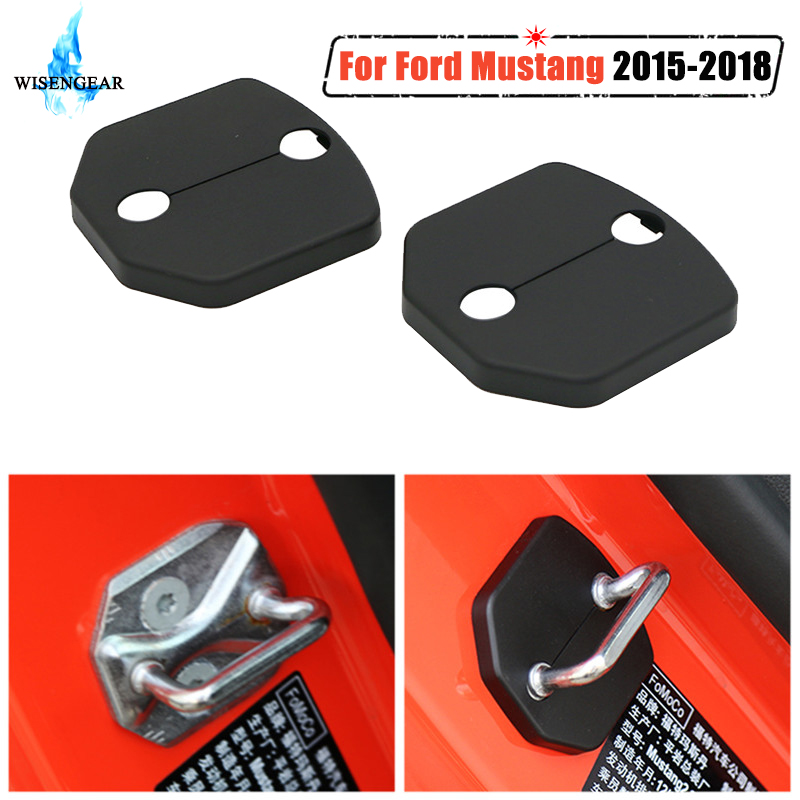 For Ford Mustang Door Lock Buckle Cover Protective Cap ABS Plastic 2Pcs Car Interior Door Lock Cover Trim Protector 2015-2018