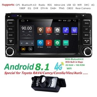 2 din Car Radio GPS Android 8.1 CAR DVD Player For Toyota RAV4 COROLLA Land cruise 100 200 Camry yaris prado 150Hilux ViosTerios