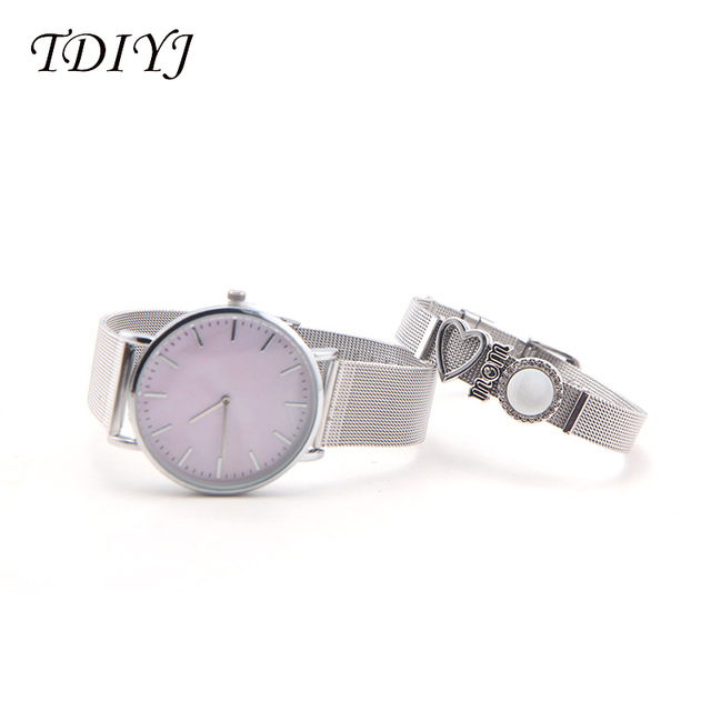Tdiyj вращающийся сетчатый розовый корпус Циферблат часы из