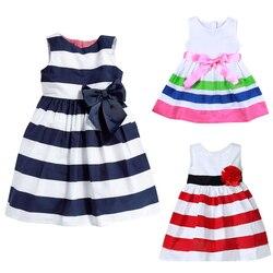 Vestidos de bebê para meninas verão princesa bonito algodão listrado bebê meninas roupas lolita vestido para 0-24 m crianças com arco-nó