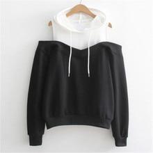 Women 2017 Casual Long Sleeve Sweatshirt Feminina Patchwork Hoodie Sweatshirt Jumper Pullover Tops long sleeve patchwork pullover hoodie