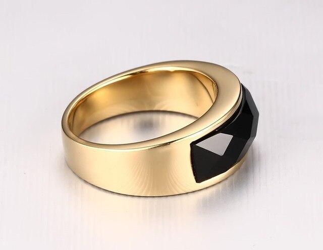 Купить модное черное кольцо из нержавеющей стали золотого цвета для