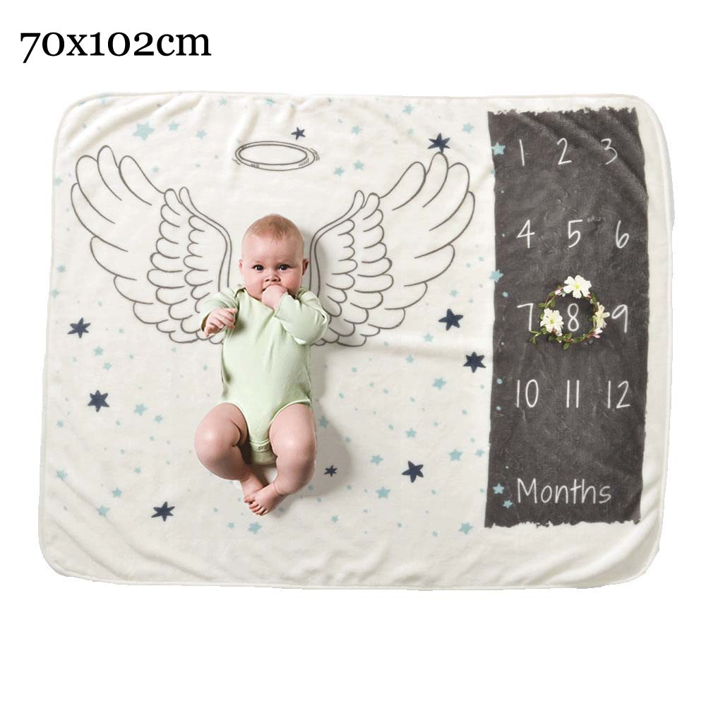 Прямоугольное одеяло-Ростомер для новорожденного ребенка/ребенка, подарок для мальчика, одеяло для фотосъемки 76X102 см - Цвет: wing