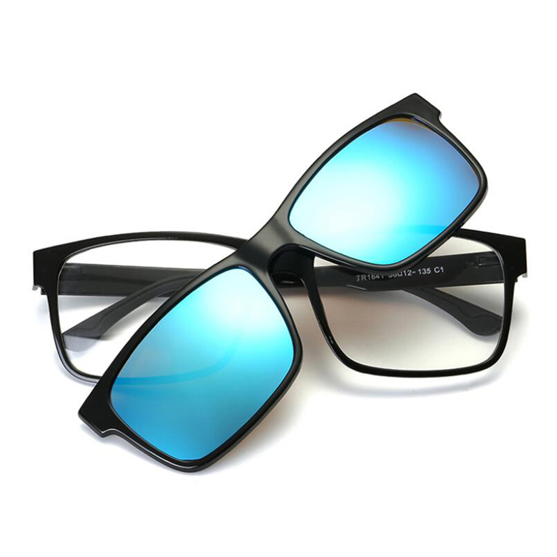 5cf2687fb53 Magnet Flat Polarized Sunglasses Men Dual Use TR90 Clip Mirrored Sunglasses  Men Clips TAC Lens Colorful Square Eyeglasses-in Sunglasses from Men s  Clothing ...