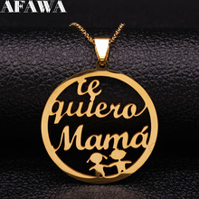 2019 Fashion Mama Stainless Steel Necklace for Women Gold Color Kid Necklaces Jewelry ccollares largos N18882