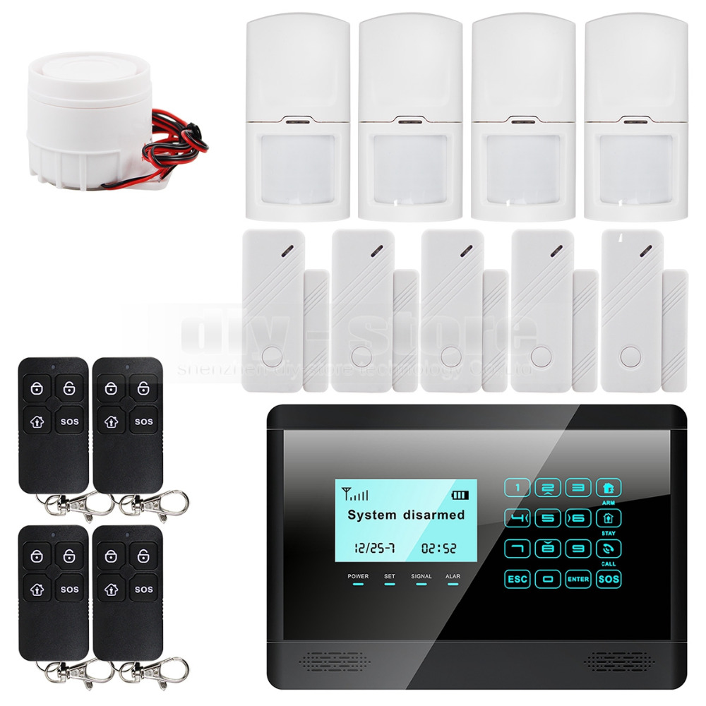 Wireless& Wired GSM SMS Home House Security Inturder Alarm System + 5 Door Sensor + 4 Motion Sensor + 4 Remote Controller 16 ports 3g sms modem bulk sms sending 3g modem pool sim5360 new module bulk sms sending device