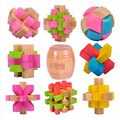 11  high quality Educational Games Toys wooden puzzle IQ brain teaser Kong Ming Lock /Lu Ban Lock 9pcs set with box