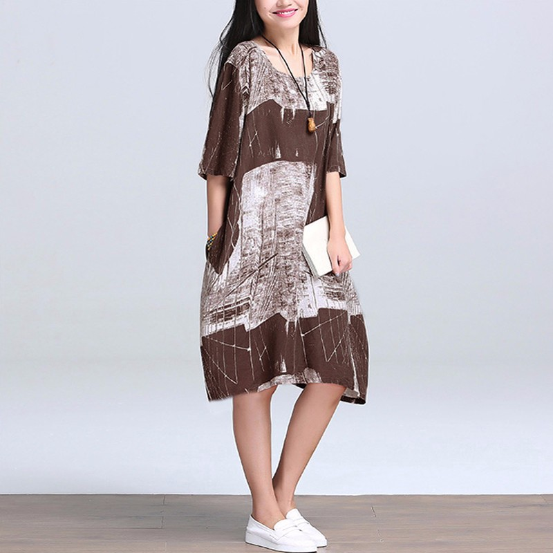 2018 Pregnant Women Dress Vintage Print Casual Loose Maternity Clothes For Pregnancy Ladies Half Sleeve O Neck Vestidos