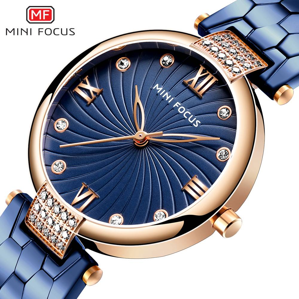 MINIFOCUS Modern Fashion Blue Quartz Watch Men Women Stainless Steel Watchband High Quality Casual Wristwatch Gift For Female