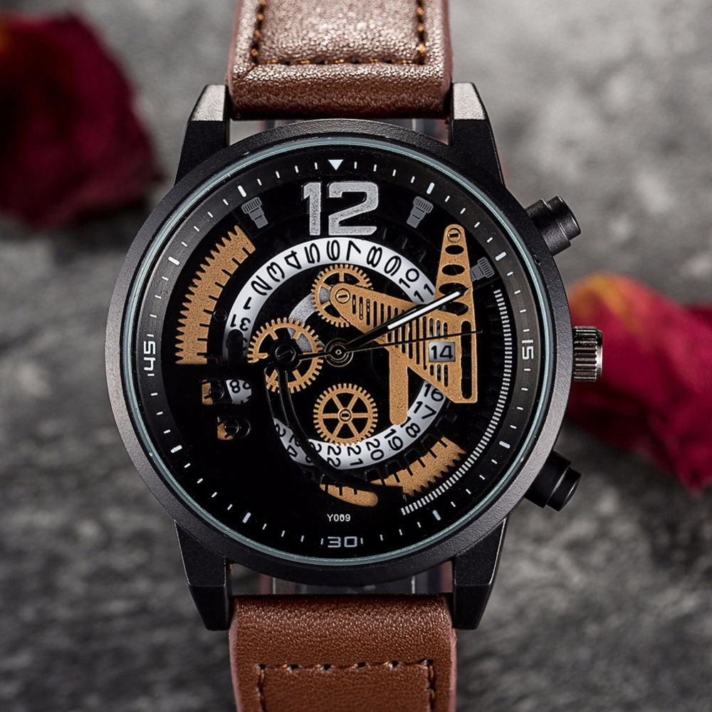 Gear decoration Mens Casual Watch Creative leather Quartz Watch BGG Luxury Brand Male sports Wristwatch men Business clock Hours