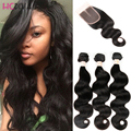 HCDIVA 8A Quality Human Hair Peruvian Virgin Hair 3 Bundles With Closure Peruvian Body wave with lace closure