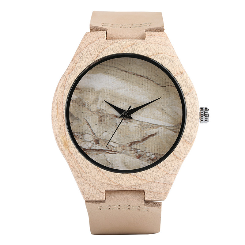 Creative Bamboo Wooden Watch Simple Novel Nature Wood Men Analog Genuine Leather Band Strap WristWatch Green Face relogio simple casual wooden watch natural bamboo handmade wristwatch genuine leather band strap quartz watch men women gift page 4